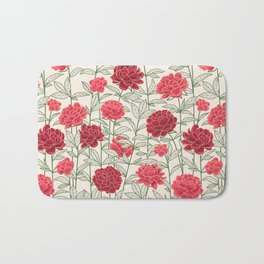 Red Floral Peonies Pattern Bath Mat