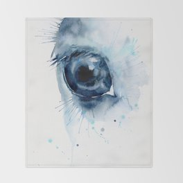 Watercolor Horse Eye Throw Blanket