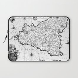 Vintage Map of Sicily Italy (1600s) BW Laptop Sleeve