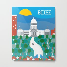 Boise, Idaho - Skyline Illustration by Loose Petals Metal Print