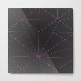 Abstract watercolor pink black geometric pattern Metal Print