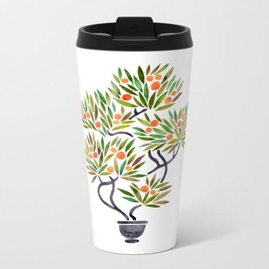 Bonsai Tree – Orange Fruit Metal Travel Mug