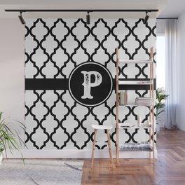 Black Monogram: Letter P Wall Mural