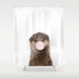 Bubble Gum Baby Otter Shower Curtain