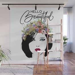 Hello Beautiful Woman and Flower Crown Wall Mural