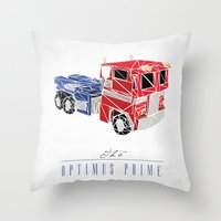 optimus prime Throw Pillows featuring The Optimus Prime by Josh Ln