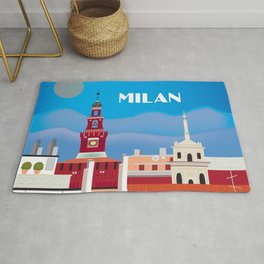 Milan, Italy - Skyline Illustration by Loose Petals Rug