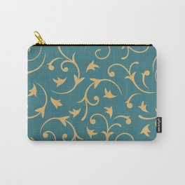 Baroque Design – Gold on Teal Carry-All Pouch