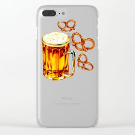 Beer & Pretzel Pattern Clear iPhone Case