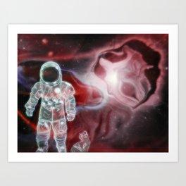 the astronaut and her  neko Art Print