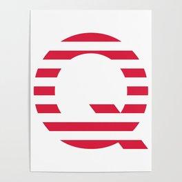 Qanon American Red Patriotic Stripes USA Great Awakening Q Poster