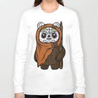 ewok Long Sleeve T-shirts featuring Sugar Skull Ewok by Team Rapscallion