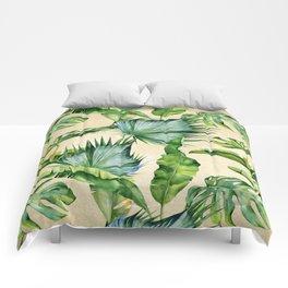 Green Tropics Leaves on Linen Comforters
