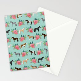 Horse Florals - mint and pink, horse, horse bedding, horse florals, horse blanket, horse decor, cute Stationery Cards