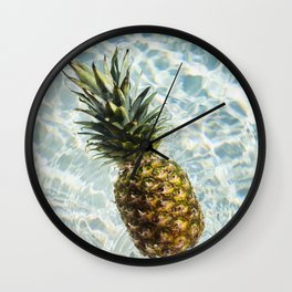 Floating on Cool Sunny Water Pineapple Fruit Summer Happiness Pop Art Modern Chic Home Decor Gallery Wall Clock