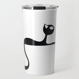 Grace of a cat black pattern Travel Mug