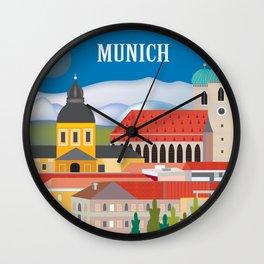 Munich, Germany - Skyline Illustration by Loose Petals Wall Clock