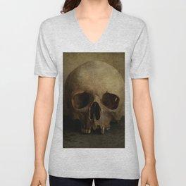 Male skull in retro style Unisex V-Neck