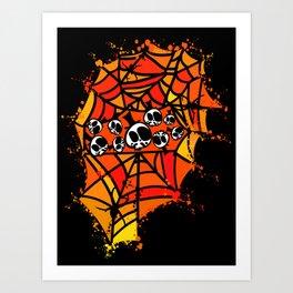 Colorful spider webs Art Print