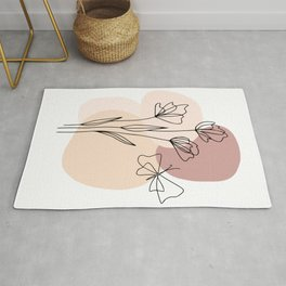 Minimal Line Art Flowers And Butterfly Rug