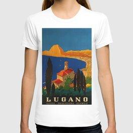 Vintage Swiss Riviera Travel Poster Lugano Lake Monte San Salvatore T-shirt