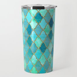 Aqua Teal Mint and Gold Oriental Moroccan Tile pattern Travel Mug