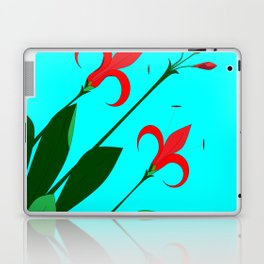 A Garden of Big Red Flowers with Buds with Blue Laptop & iPad Skin