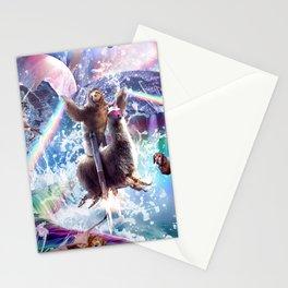 Rainbow Laser Sloth On Llama Unicorn In Space Stationery Cards