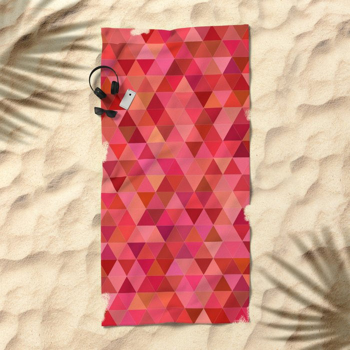 Red triangle tiles Beach Towel