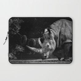 12,000pixel - 500dpi, High Quality Photograph - The Rhino II - Black and white Laptop Sleeve