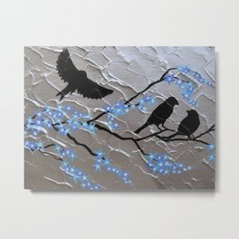 sakura Japanese cherry blossom tree with bird in blue and silver / grey / gray Metal Print