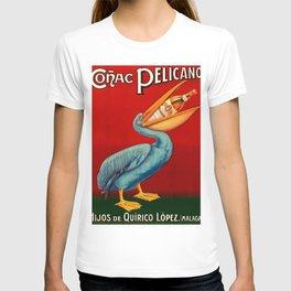Vintage 1920 Cognac Pelicano Hijos de Quirico Lopez Malaga Advertising Poster T-shirt