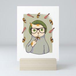 Hipster Sushi Tabby Cat Mini Art Print