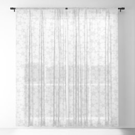 Block Print Silver-Gray and White Stars Pattern Sheer Curtain