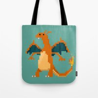 charizard Tote Bags featuring Charizard by GregSuj