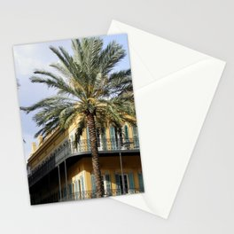New Orleans architecture yellow building with palm tree Stationery Cards