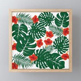 Tropical Leaves Hibiscus Flowers Framed Mini Art Print
