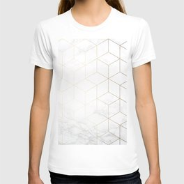 Gold Geometric White Mable Cubes T-shirt