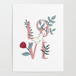 Floral Dog Love Poster