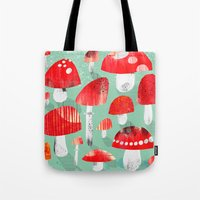 mushrooms Tote Bags featuring Mushrooms by Claudia Voglhuber