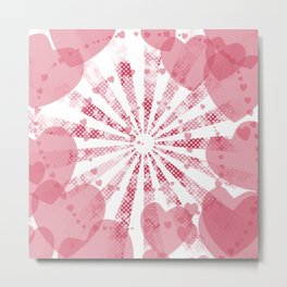 Pop art pink illustration on the background of hearts Metal Print
