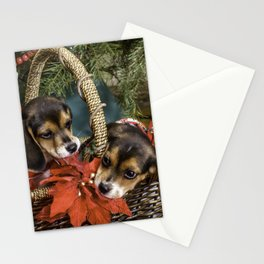 Naughty Beagle Puppies Nibbling on Christmas Decorations Stationery Cards