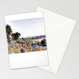 Santa Monica Pier Cliffs Watercolor Stationery Cards
