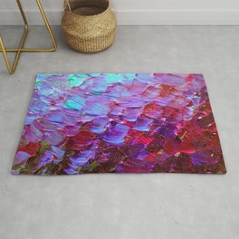 MERMAID SCALES - Colorful Ombre Abstract Acrylic Impasto Painting Violet Purple Plum Ocean Waves Art Rug