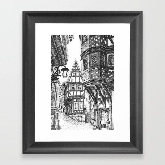Old Townscape Framed Art Print