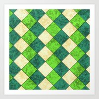 Green Check Tile Art Print