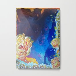 Mad Lucy's Golden Roses. Yellow Roses and Galaxy Blue. Metal Print