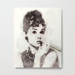 Audrey Hepburn portrait 04 Metal Print