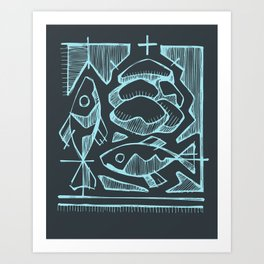 Five breads and two fishes illustration Art Print