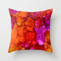 fierce Throw Pillows featuring Fierce by Claire Day